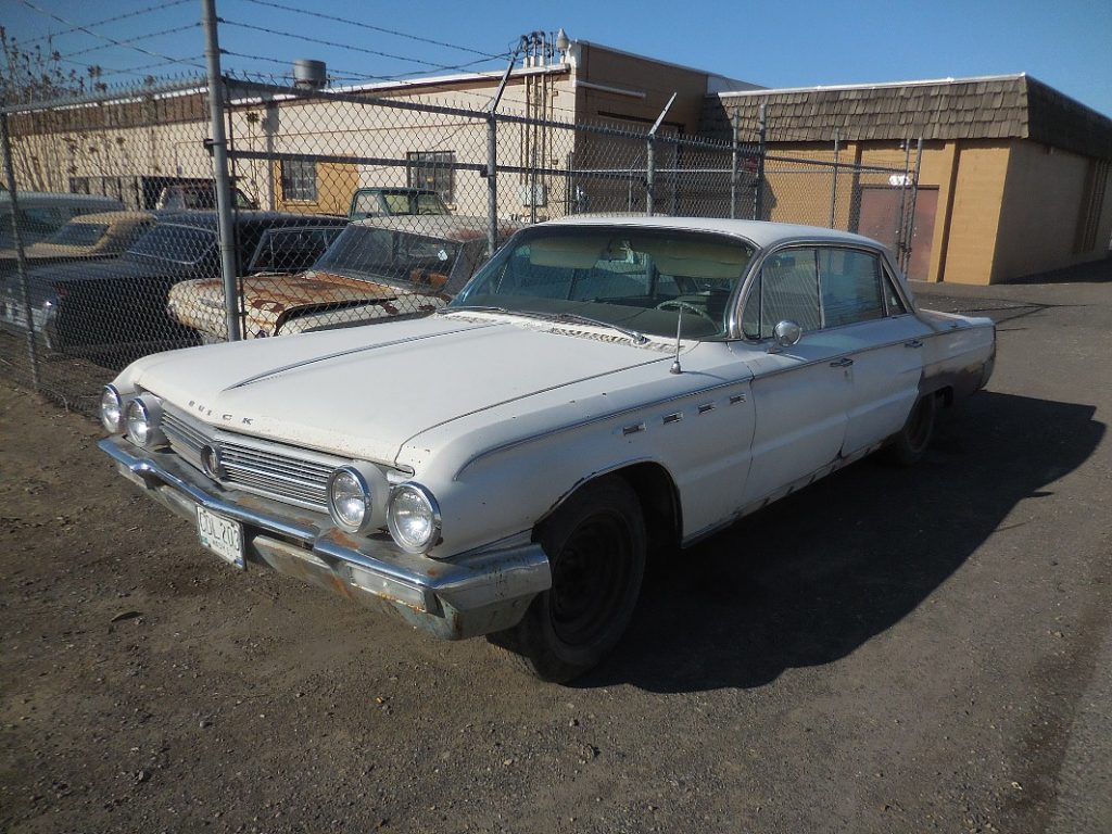 1962 Buick Electra  dr H/T, 401 V-8, automatic, power steering and brakes, power windows, power seat, Factory A/C.  Straight body, clean interior, parked in 1980, $2,500 n-472