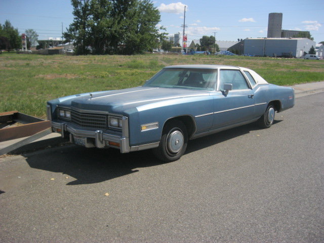 1978 Cadillac Eldorado coupe, low miles (70,000), straight body, not rusty, runs great. Needs paint and bumper fillers.  $2,150  n-444