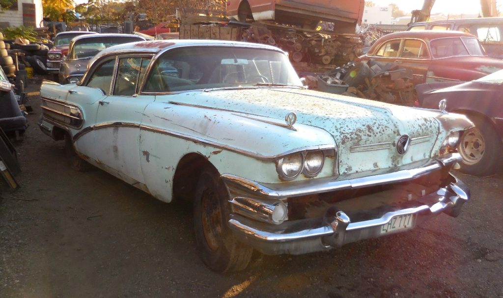1958 Buick Century 4 dr sedan, no engine or trans, LF damage, lots of good parts.    Parts Car.  n-458