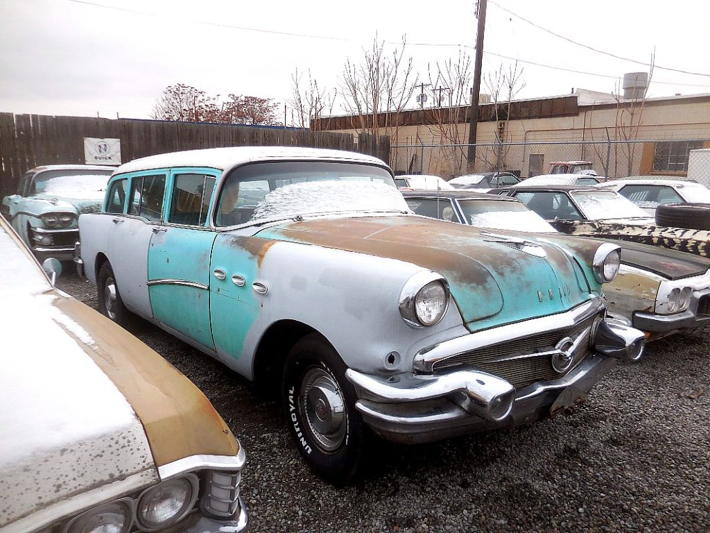 1956 Buick Special station wagon, no engine or trans. Body was off the frame, repainted with new body mounts has Mopar leaf spring rear end, frame modified for Chev V-8 and automatic, new windshield and gasket. Nice straight body, nearly rust free   $3,750  n-482 Sorry, this one is sold!