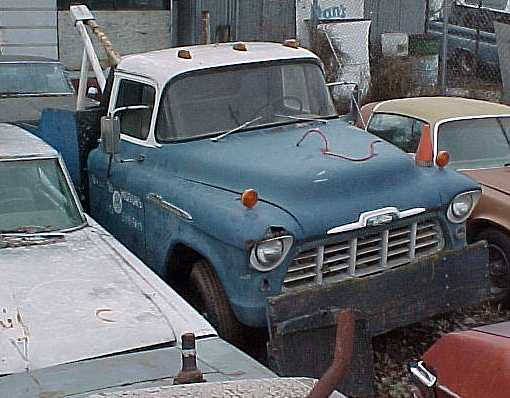 1956 Chevy 3/4 ton wrecker - Local landmark! Nostalgic rebuilder for repair shop advertising.  $1,200 n-180