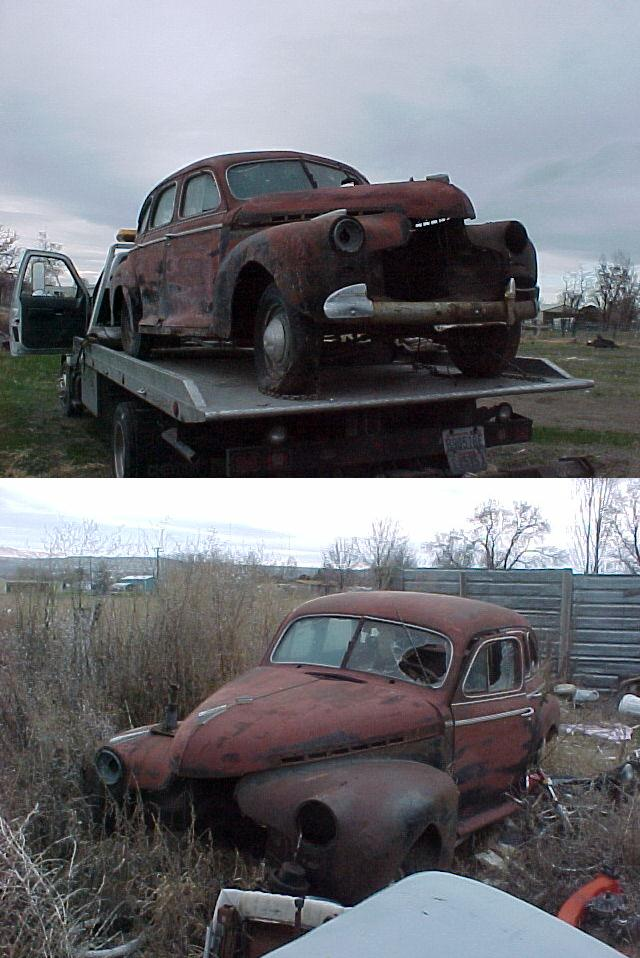 1941  Chevrolet Special Deluxe 4 dr. Sedan, missing engine, grille, trim parts, it'a rough but it's cool and has a title.  $1,500  n-250