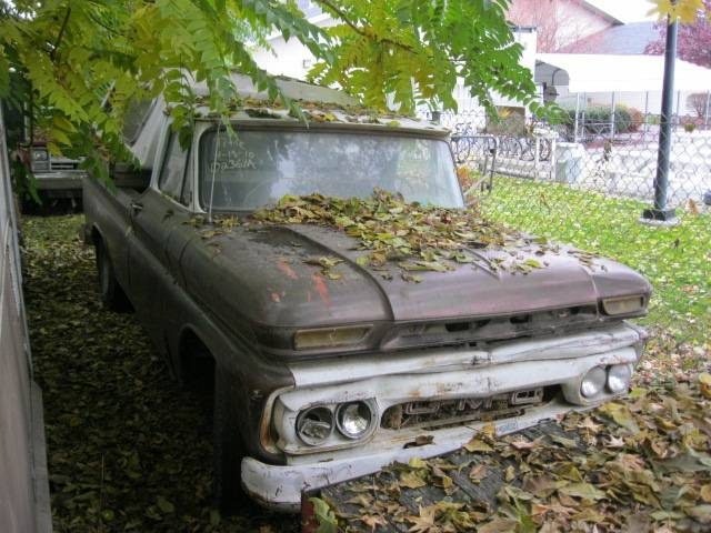 1965 GMC 1/2 ton Fleetside long bed  292 straight six, 4 speed, complete, rough body  $900  n-325