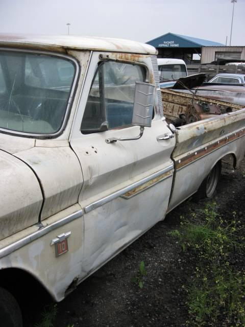 1964 Chevy 1/2 ton Fleetside long bed w/Custom trim  283 Powerglide, beat up and rusty, but  Great parts truck.  n-328