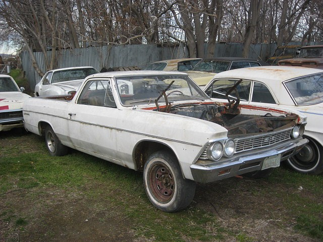 1966 El Camino decent body, nice bumpers, no engine or trans but price includes hood and back window.  $1,800 n-406