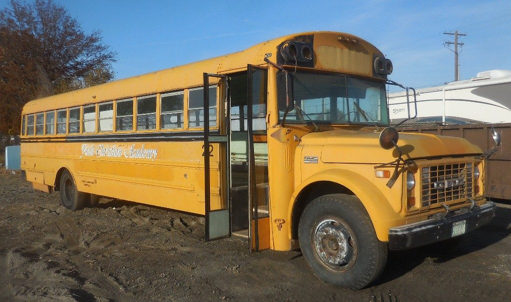 1973 GMC full sized school bus, 427 tall deck, Allison automatic trans, runs OK, complete, straight and not rusty.  $1,750  n-498
