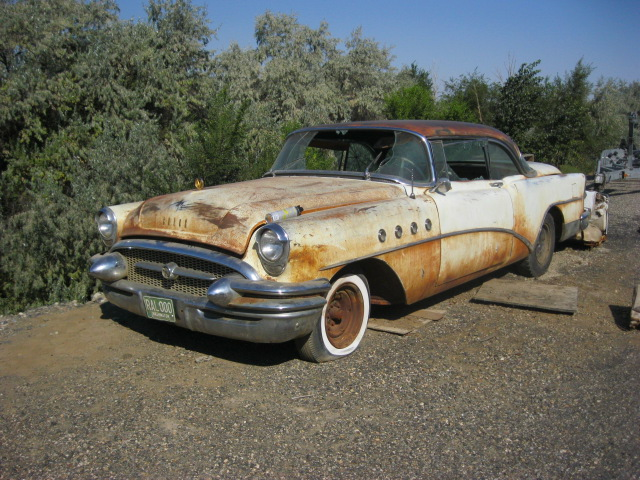 1955 Buick Roadmaster 2 door hardtop, V-8 Automatic, Power brakes and steering, power windows etc. Complete, straight and not all rusted out but engine is sized, interior destroyed, some broken glass. Restorable or make an excellent parts car.  $2,500 n-371
