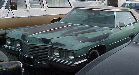 1972 Cadillac Coupe de Ville - complete, straight, loaded, was running. $1,250 n-153