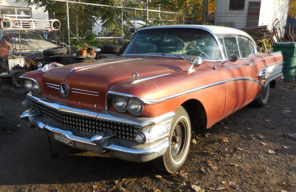 1958 Buick Super 4 dr hardtop. Nice  straight, clean old car w/ PS, PB and ultra rare Level Aire system with little compressor driven off the power steering pump. Engine disassembled and partially rebuilt, missing transmission.  $4,500  n-456