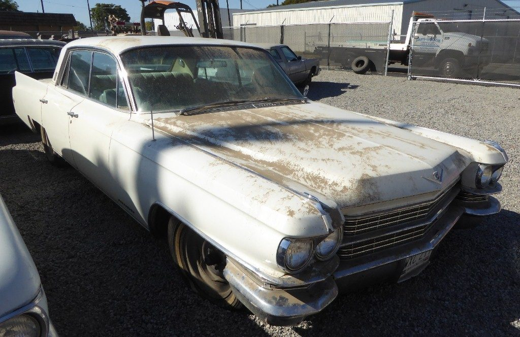 1963 Cadillac Fleetwood 60 Special 4dr H/T stored indoors since 1991. Super clean, straight body, not rusty, all original with beautiful, interior and dash, skirts and hubcaps. Not running, $3,750  n-514  Sorry, this one is sold!
