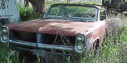 1964 Catalina convertible - no engine, no trans, buckets, console, vacuum gauge, tach, PW, PS, rough & rusty $2,500  n-021