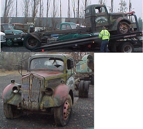 1936 White truck - 1 1/2 ton long wheelbase. Rough, rare and complete $1,200  n-195  Sorry, this one is sold!