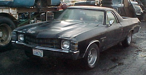 1971 El Camino SS 454,  Rough and rare and restorable. Its a real SS but I can't verify the 454 part although the emblems are correct. Has a Pontiac 350 T/400 that runs good. Posi 12 bolt with 3:08 gears, power disc brakes, tilt, A/C, NON gauge SS dash. Also has bondo, rust, dents and extensive neglect. Parts only.  n-207