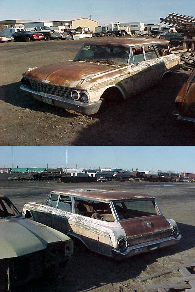 1962 Ford Country Squire Wagon, 390 Thunderbird 4V engine, PS, under dash A/C, straight, not rusty, not running, $2,500   n-269
