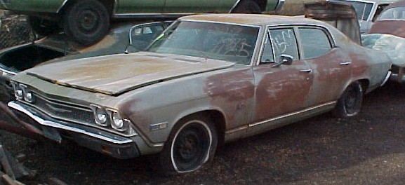 1968 Malibu 4 dr sedan, 307 Powerglide, Power steering and brakes, radio, remote mirror. Runs poorly, super original old car that's very restorable or will make an incredible parts car.as the front nose clip is in excellent shape.  $1,850  n-279
