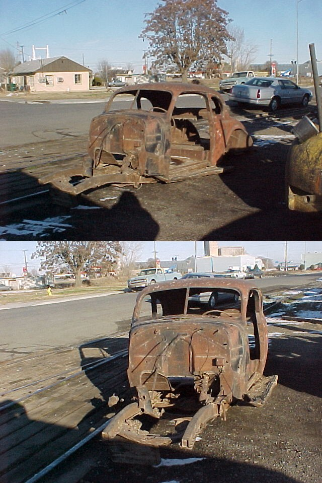 1939 Chev Master 85 Business Coupe Body shell and frame only. This is the model that didn't have a back seat, but had a platform that extended back into the trunk to hold packages, supplies luggage etc. I have a nice 39 hood that goes with the car but otherwise what you see is what you get. $1,350  n-280