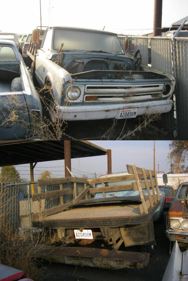 1967 Chevy truck, 3/4 ton flatbed stake, rare factory bed w/ replacement racks, no engine or trans  $1,350  n-322