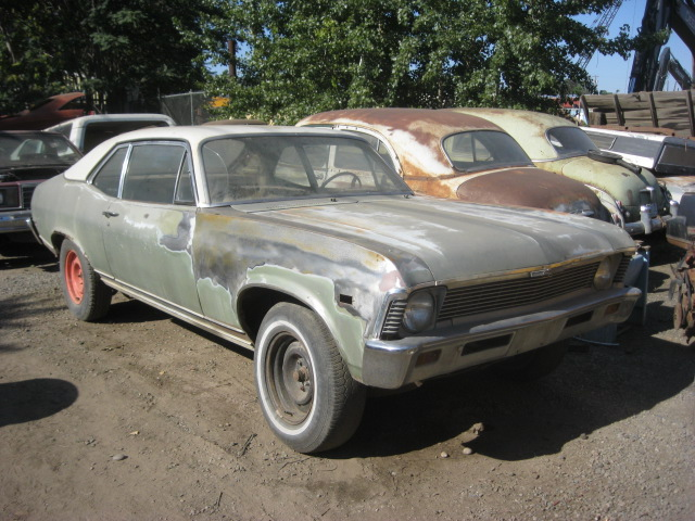 1968 Nova Custom 2 dr, no motor trans or interior. Straight body with midwest style rust. Has all Custom trim and V-8 mounts.   $1,325  n-414 Sorry, this one is sold!