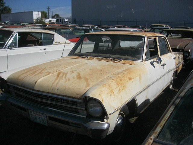 1967 Nova 4 door sedan,  6 cyl, Powerglide, complete, all original, good body worn out mechanically.  $1,750  n-422