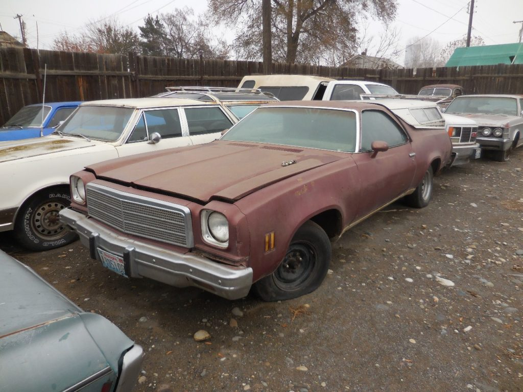 1973 El Camino  350 engine incomplete, automatic, tilt, black interior, nice body, minimal rust It actually is a 1973 but has 74 grille and header panel.  $1,250   n-449