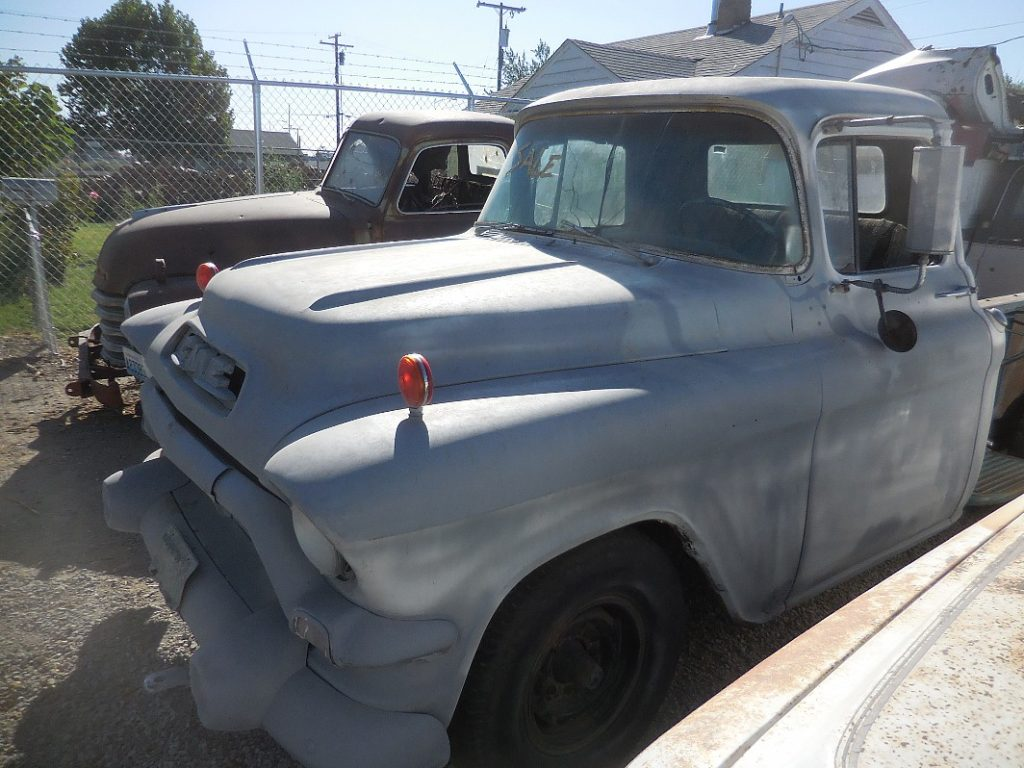 1957 GMC 3/4 ton long bed stepside. Has early sixties 305 V-6, truck 4 speed. Complete, will run.  $1,650 n-469