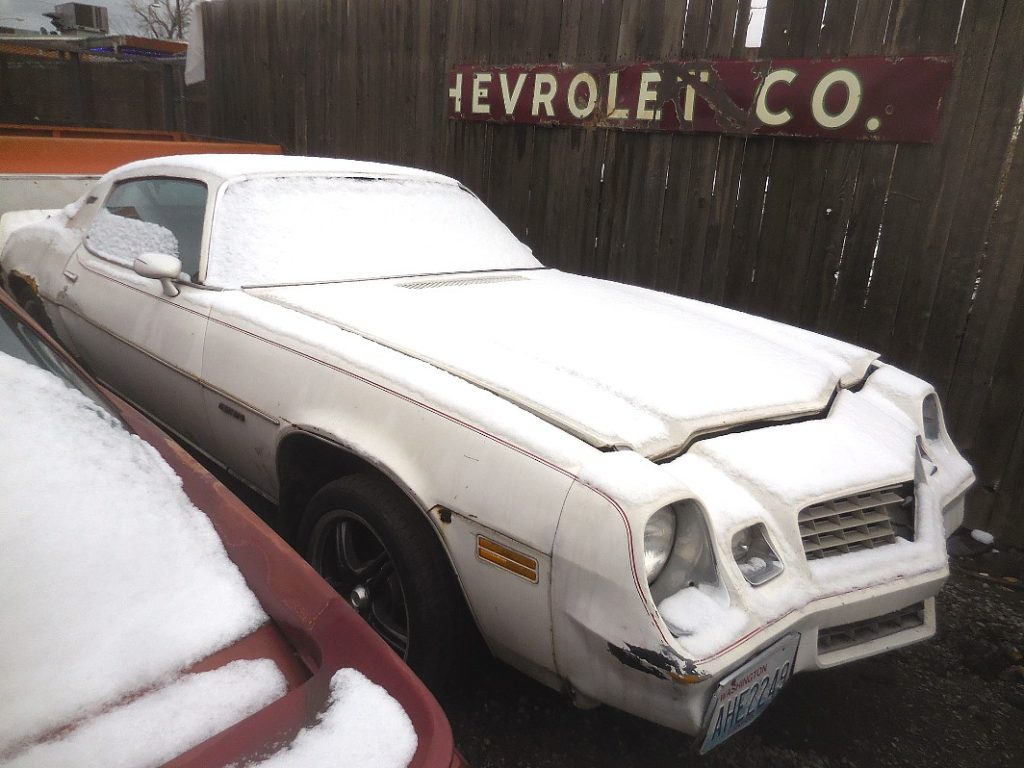 1978 Chevy Camaro LT no engine, rusty quarters, but nice black deluxe interior, Turbo 350, tilt, tach and gauges etc  Flowmaster exhaust,  $1,350 or will part out. n-479