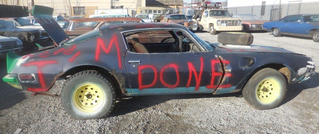 1974 Trans Am, partially stripped and prepared for a demolition derby but luckily it never happened!!   Who demos low production Trans Ams? Has 1969 era 400 Pontiac w #670 heads, turbo 400 trans, posi rear, tilt, A/C, power windows, tach and gauges etc etc. Looks bad but very restorable  $3,500  n-503