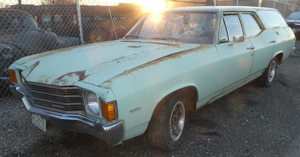 1972 Chevelle Nomad wagon  350 V-8, T-350 automatic, power steering, power disc brakes. Retired US Govt rig, Forest Service or BLM, has GSA #'s in glove box. Engine runs good body is straight but floor pans are totally rusted out.  $2,500  n-535
