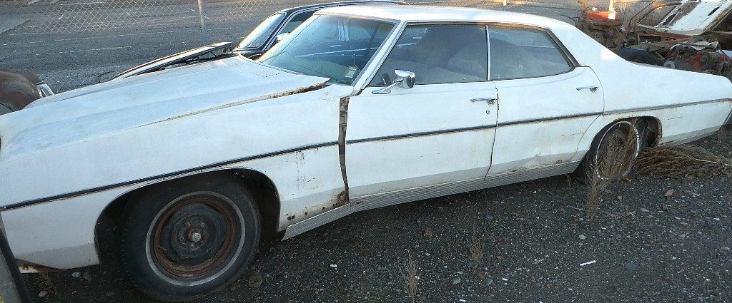 1969 Pontiac Bonneville 4 dr H/T parts car. No engine or trans, otherwise complete. Power windows, tilt, Rare power disc brakes and factory in dash gauges.  $1,200 or will part out.  n-538